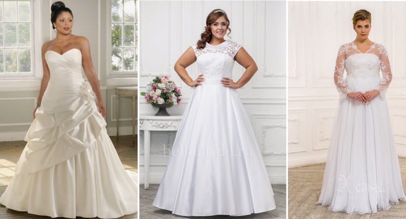 aee215f48f9ef6 Можливо, такий наряд і нагадує плаття принцеси, але власниці пишних форм  виглядають в них досить безглуздо. Красиві весільні сукні для повних дівчат  фото