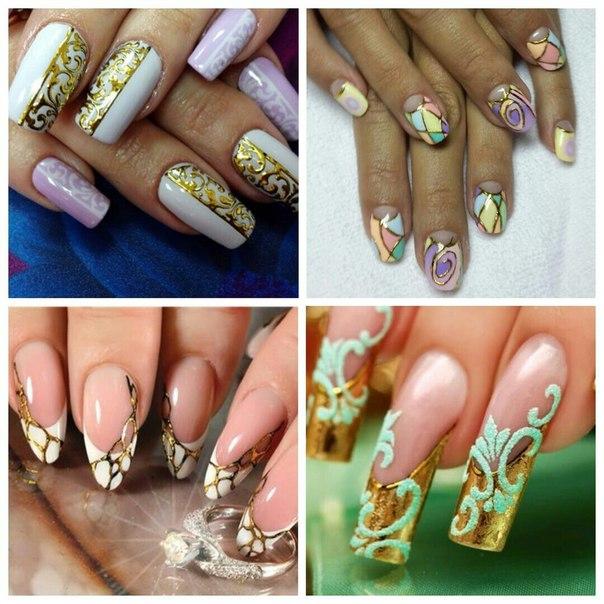 Рисунок на золотых ногтях фото
